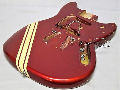 1969 1970 1971 1972 1973 Old Fender Competition Red Mustang Guitar Body Original