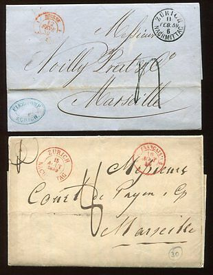 SWITZERLAND 1849-59 COVER Lot to FRANCE 2 Items