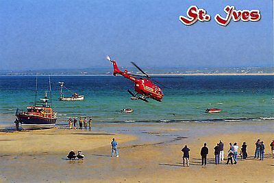 CORNWALL AIR AMBULANCE - MBB Bo105 HELICOPTER - ST IVES - POSTCARD VIEW