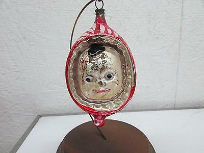Antique Figural Campbell Soup Kid Embossed Glass Christmas Ornament Glass Eyes