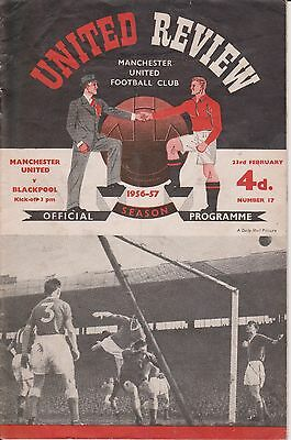 Manchester United V Blackpool  56/57 United Review No.17