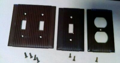 Three Vintage Uniline Ribbed Art Deco Brown Bakelite Switch Outlet Plate Covers