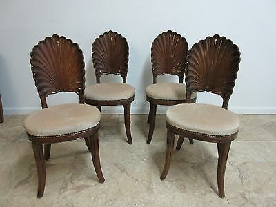 Vintage Shell Carved French Regency Dining Room Side Chairs