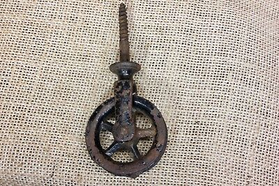 "screw Pulley 1 3/4"" cast iron vintage rustic old black paint antique spoke wheel"