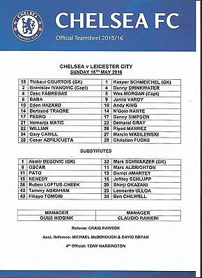Football Teamsheet>CHELSEA v LEICESTER CITY May 2016