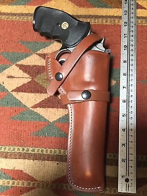 "Smith & Wesson 586 686 66 19 10 Ruger GP100 6"" Barrel Brwn Leather Field Holster"