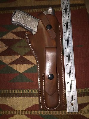 "Ruger Mk I II III IV Leather Holster w/ Magazine Pouch 6 7/8"" Barrel Mark Brown"
