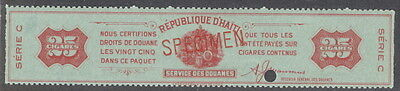 """Haiti, 1900's 25 cigar stamp fiscal ovpt. """"SPECIMEN""""  Am. Banknote archives, NH"""