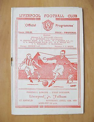 LIVERPOOL v FULHAM 1949/1950 *Excellent Condition Football Programme*