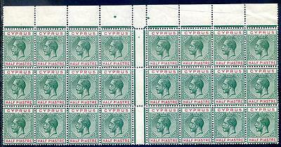 Cyprus 1912-15 George 5th ½pi an unmounted mint block 24 (2017/06/16#04)
