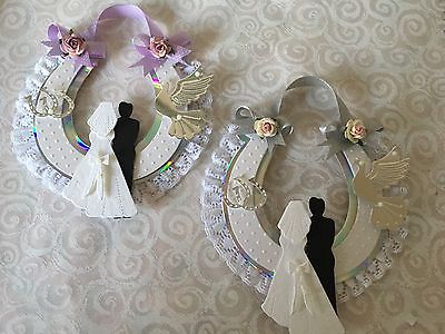 2 Wedding Horseshoe Card Toppers With Lace