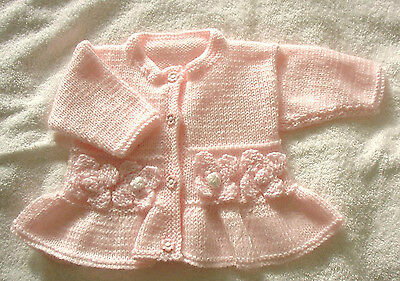 A Lovely Hand Knitted Pink Peplum Cardigan 3 to 6 Months