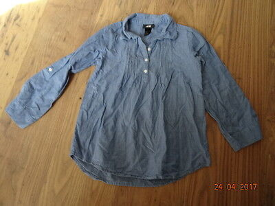 GIRLS H&M BLUE LONG SLEEVED SHIRT age 5 - 6 years IN VGC