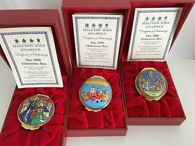 Halcyon Days Enamels Christmas Box 1998 1999 2000 New Boxed & Certificates.