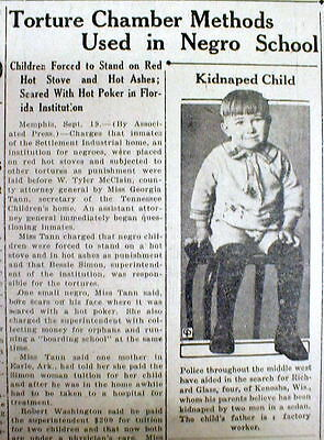 1929 newspaper NEGRO CHILDREN TORTURED in MEMPHIS Tennessee COLORED ORPHANAGE