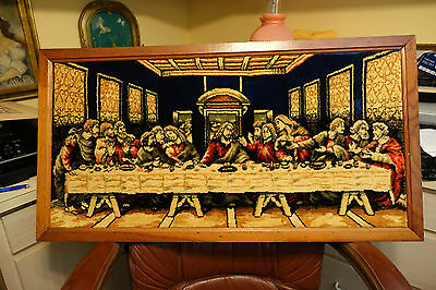 """Beautiful  Antique Tapestry Front Feels Like Deep Velvet Last Supper  39""""x20"""""""