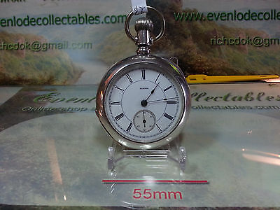 18 Size Illinois Railroad Grade 17 Jewel Pocket Watch in large coin silver case