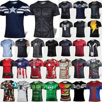 Mens Superhero T-shirt Captain America Sports GYM Athlete Muscle Jersey Tee Tops