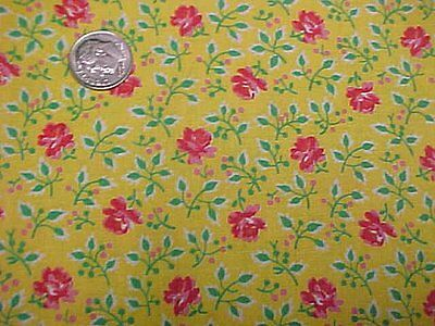 Vintage Antique Cotton Quilt Doll Fabric Red Pink Roses on YELLOW Material 30s