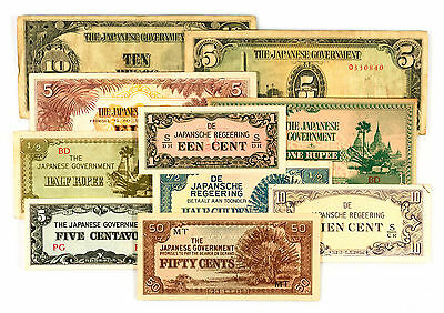 10 diff. WW2 Burma, Philippines, Malaya, NEI 1940's Japanese invasion money