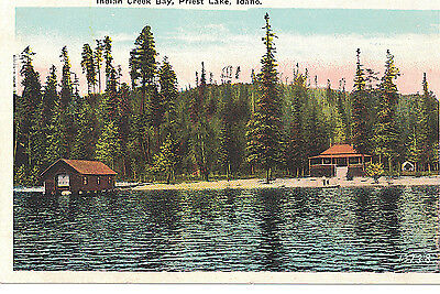 U.s.a. Vintage Postcard Indian Creek Bay, Priest Lake, Idaho