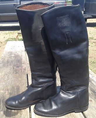 Used Women's 7 1/2 tall English riding boots black leather