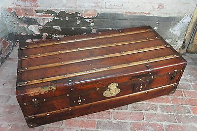 Beautiful Early Antique English Leather Steamer Cabin Trunk
