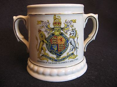 VINTAGE BRENTLEIGH CORONATION LOVING CUP for QUEEN ELIZABETH II June 2nd 1953 EX