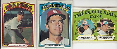 (3) Topps 1972 Baseball Cards with stars