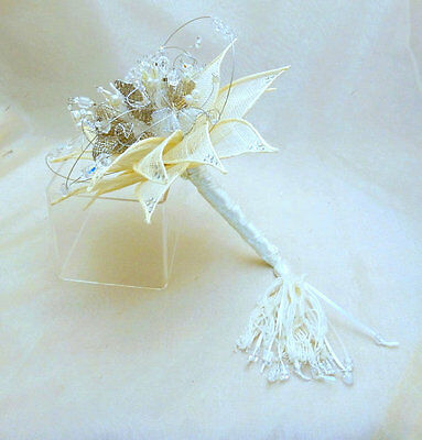 RETIREMENT SALE Ivory silver beaded bridal bouquet textile leaves.