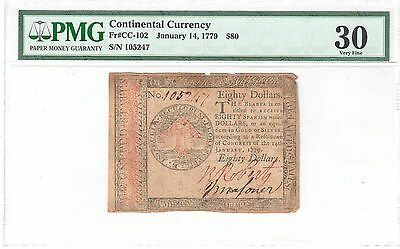 Contiental Currency $80 January 14, 1779 S/N 105247 - PMG VF30 Fr#CC-102