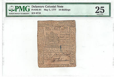 Delaware Colonial Note May 1, 1777 10 Shillings PMG VF25 Fr#DE-91
