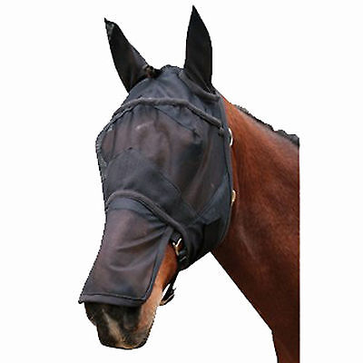 FLY MASK with ears Horse Full Face Fine Mesh Black Net Hood NON RUBBING soft