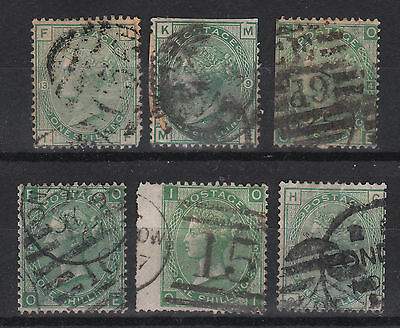 1856-80 QV GB 1s green, various plates 4, 5, 12 and 13
