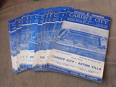 19 Cardiff City Home League Division 1  Programmes 1960 To 1962