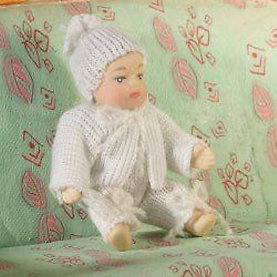 DOLLS HOUSE DOLL1/12th SCALE  MODERN BABY IN WHITE BABYGRO
