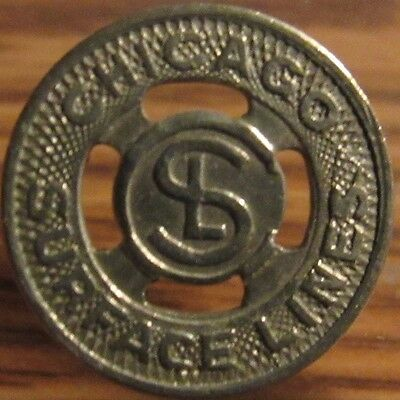Pre-1930 Chicago, IL Surface Lines Transit Trolley Token - Illinois