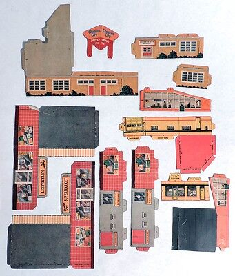 P074 Vintage: CHEERIOS CITY Box Back CUT OUT Drive In & More General Mills 1960s