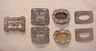 Vintage Antique Cut Steel~Rhinestone~Punched Tin Shoe Buckles~3 Pair