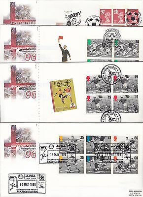 1996 Football prestige book Royal Mail FDCs 4 different handstamps 2 scarce