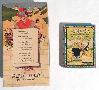 P050 Vintage: SKEEZIX CARD GAME & PIED PIPER SHOEBOX w/ Poem Empty Box 1930s [