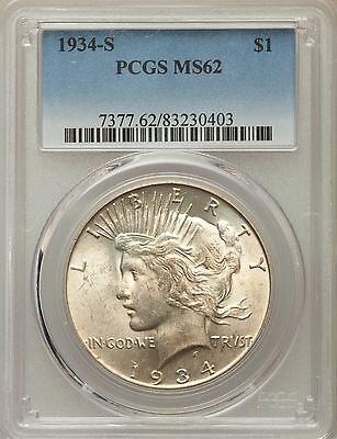 1934-S US Peace Silver Dollar $1 - PCGS MS62