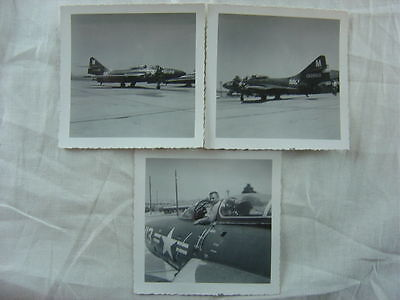 Lot of 3 Vintage Photos US Navy Jet Fighter Airplane F9F-6 Cougar 778003