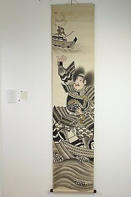 "Japanese Antique Hanging Scroll Nobori ""samurai Battle"" Jun058"