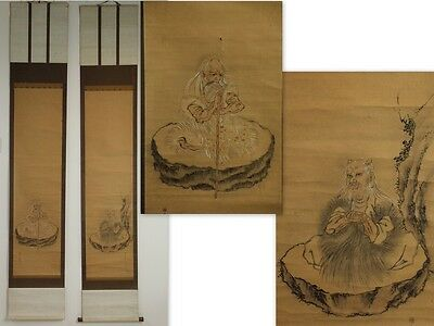 "Japanese Antique Double Hanging Scroll Hand Painted""shen-Nong God "" Jun049"