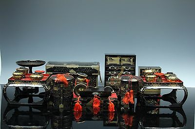 Japanese Meiji Wood Lacquer Gold Makie Hina Doll Furniture Miniature Set Jun048