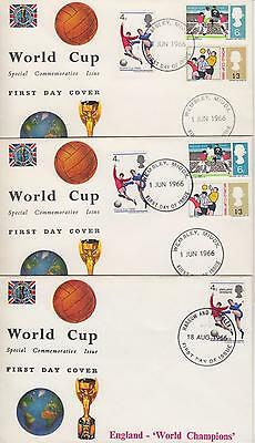 GB 1966 World Cup & Winners (ord and phos) Set of 3 FDC's