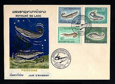 16128-LAOS-COMMMORATIVE FIRST DAY COVER VIENTIANE.1967.French colonies.POISSONS.