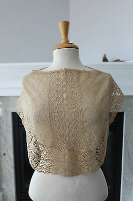 Antique 20's 30's Wide LACE Collar Handmade or Machine Combination Ecru Brown
