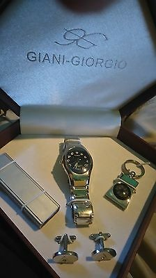 Giani Giorgio Boxed Set Of Watch Lighter Cuff Links And Compass Original Box Vgc